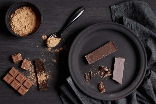 various types dark chocolate table top view 23 2148425584