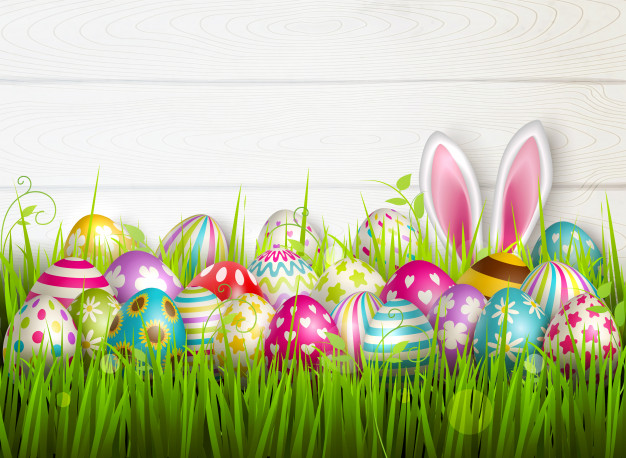 easter composition with colourful images festive easter eggs green grass surface with bunny ears illustration 1284 29464