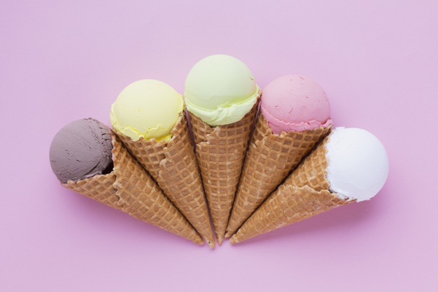 ice cream cones pink table 23 2148268132
