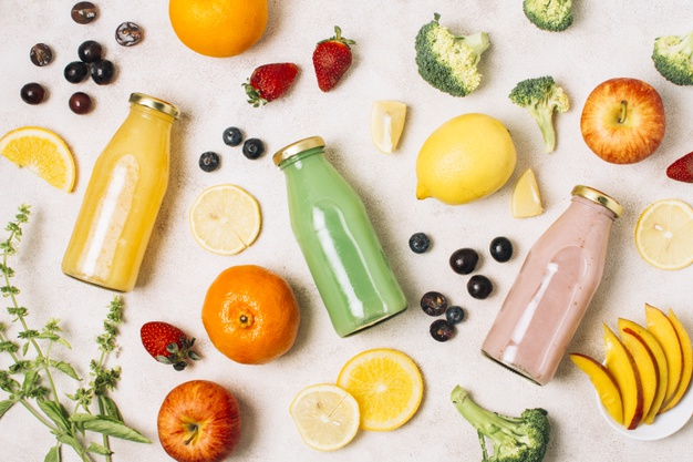 flat lay colorful composition with smoothies fruits 23 2148226143
